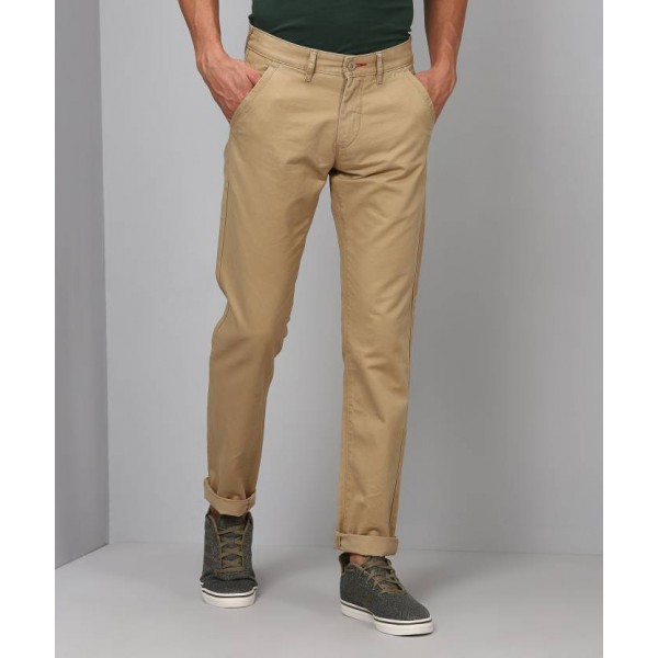 Flying Machine Slim Fit Men's Cream Trousers