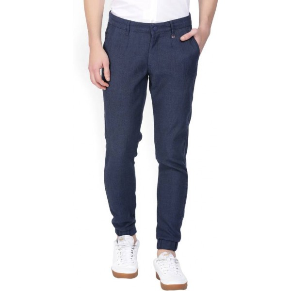 LP Louis Philippe Slim Fit Men's Blue Trousers