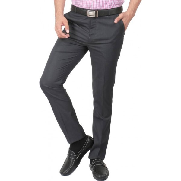 Zido Slim Fit Men's Black Trousers