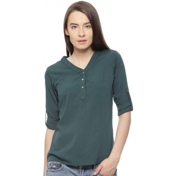 Vvoguish Casual 3/4th Sleeve Solid Women's Green Top