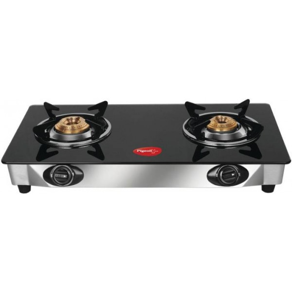 Pigeon Ultra Glass, Stainless Steel Manual Gas Stove  (2 Burners)