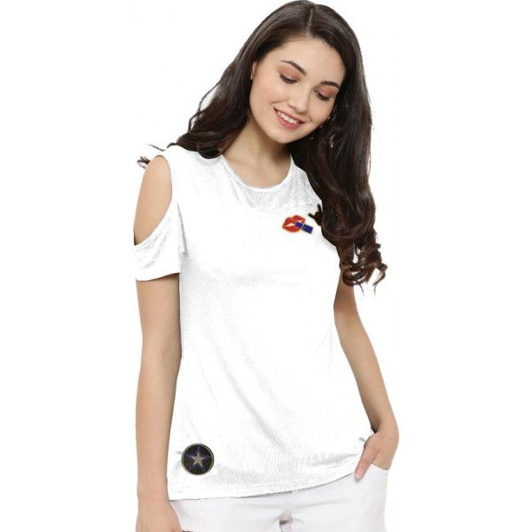 So Sweety Casual Short Sleeve Solid Women's White Top