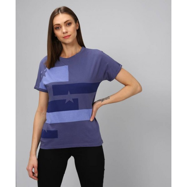 Wrangler Printed Women's Scoop Neck Blue T-Shirt