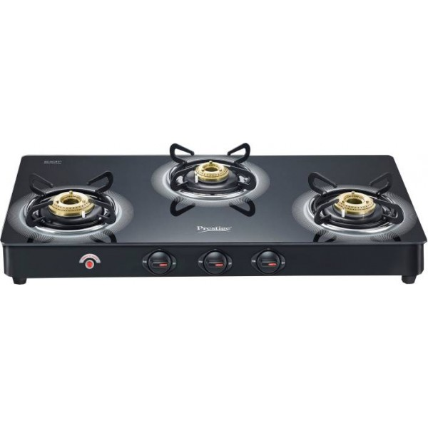 Prestige Royale Plus Glass, Aluminium Automatic Gas Stove  (3 Burners)