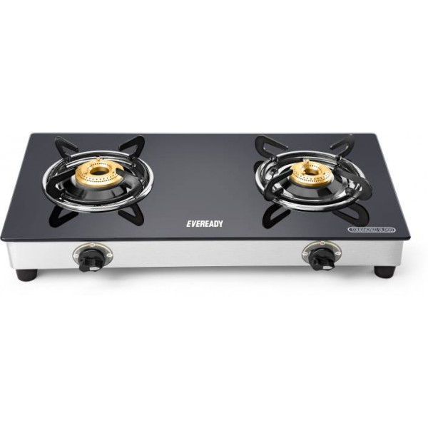 Eveready Glass, Stainless Steel Manual Gas Stove  (2 Burners)