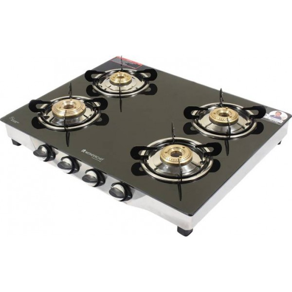 Wonderchef Ruby Glass, Stainless Steel Manual Gas Stove  (4 Burners)