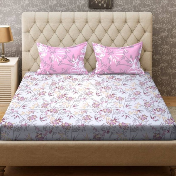 Bombay Dyeing 104 TC Cotton Double Printed Bedsheet  (1 Bedsheet, 2 Pillow Covers, Peach)