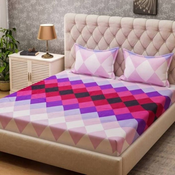 Bombay Dyeing 160 TC Polyester Double Geometric Bedsheet  (1 Bedsheet, 2 Pillow Covers, Purple)