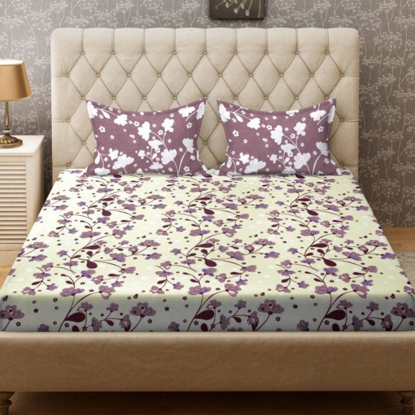 Bombay Dyeing 104 TC Cotton Double Floral Bedsheet  (1 Bedsheet, 2 Pillow Covers, Beige)
