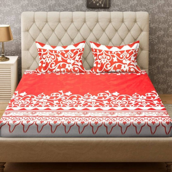Bombay Dyeing 160 TC Polyester Double Printed Bedsheet  (1 Bedsheet, 2 Pillow Covers, Red)