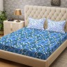 Bombay Dyeing 104 TC Cotton Double Abstract Bedsheet  (1 Bedsheet, Blue)