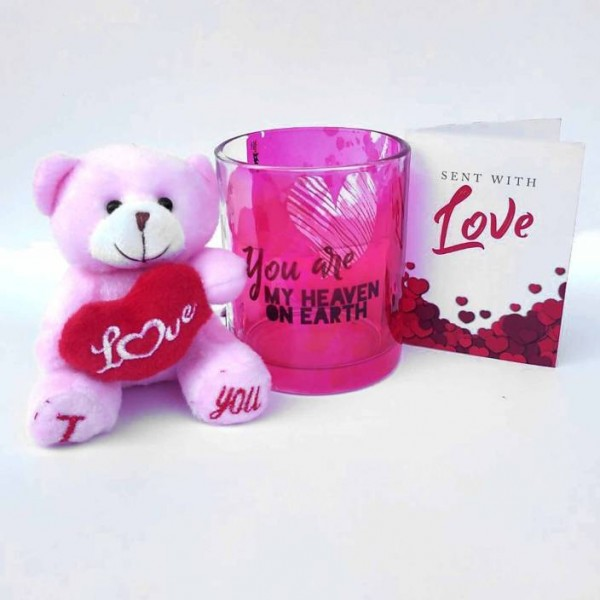 Hot Muggs You're My Heaven on Earth Valentine with Teddy and Card Glass Mug  (350 ml)