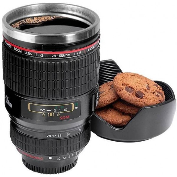 NK-STORE Camera Lens Shape Cup Coffee Tea Stainless Steel Thermos & Lens Lid Stainless Steel Mug  (300 ml)