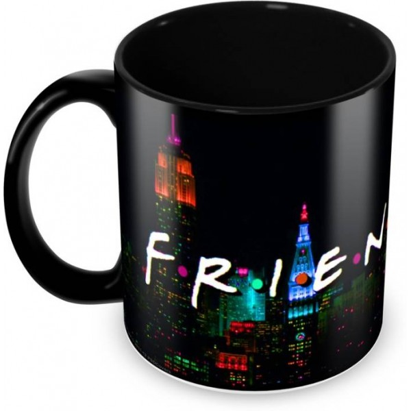"Tuelip Special ""Friends"" Full Black Printed For Tea And Coffee Ceramic Mug  (350 ml)"
