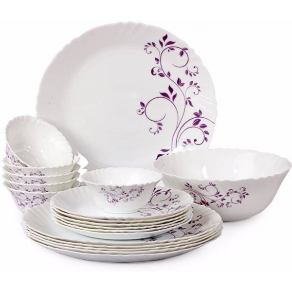 Cello Purplehues Pack of 19 Dinner Set  (Opalware)