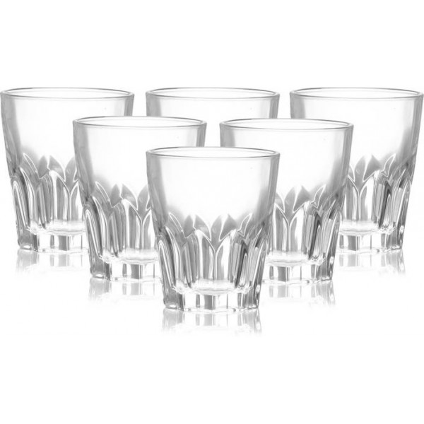 Crackndeal Whiskey Glass 07 Glass Set  (280 ml, Clear, Pack of 6)