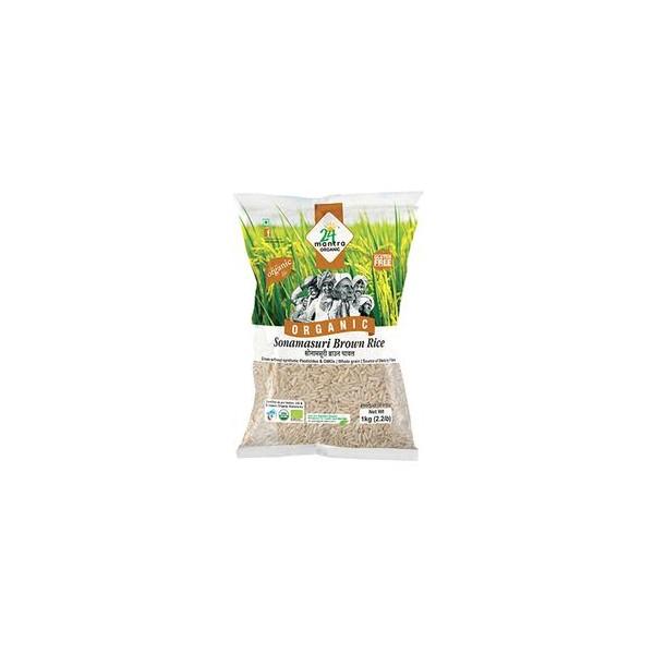 24 Mantra Organic Rice - Sonamasuri Brown, 1 kg Pouch