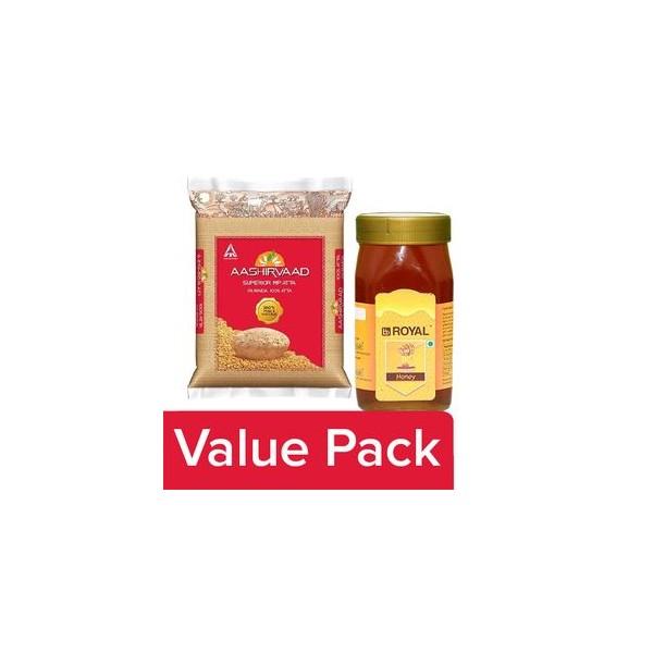 bb Combo Aashirvaad Atta - Whole Wheat 10 kg + BB Royal Honey 1 kg, Combo 2 Items
