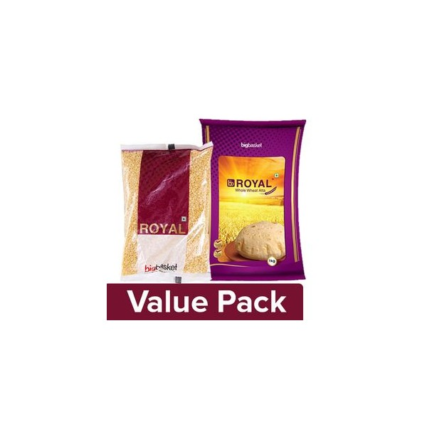 bb Royal Whole Wheat Atta 1 Kg + Moong Dal 500 gm Pouch, Combo 2 Items