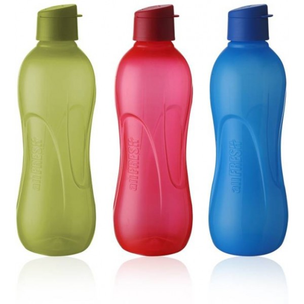Ratan All Fresh BPA Free PP with Fliptop Cap 1000 ml Bottle  (Pack of 3, Red, Blue, Green)