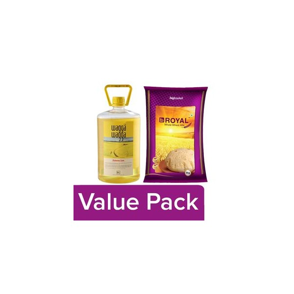 bb Combo Wagga Wagga Diabetes Care Oil 5 ltr + BB Royal Whole Wheat Atta 5 kg, Combo 2 Items
