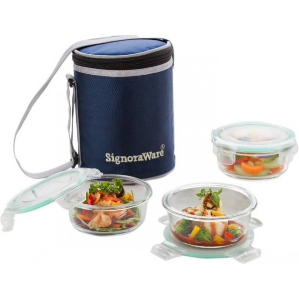 Signoraware Executive Glass 3 Containers Lunch Box  (1170 ml)