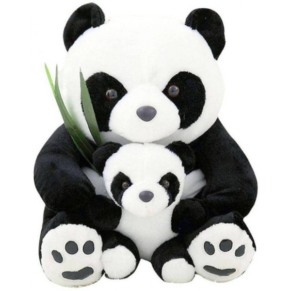 ALISHA Toys Cute Black & White Panda with Baby & Green Leaves Soft Teddy Bear - 60 cm  (Black & White)