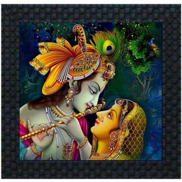 DivineCrafts Radha Krishna Canvas Painting  (10 inch x 10 inch)