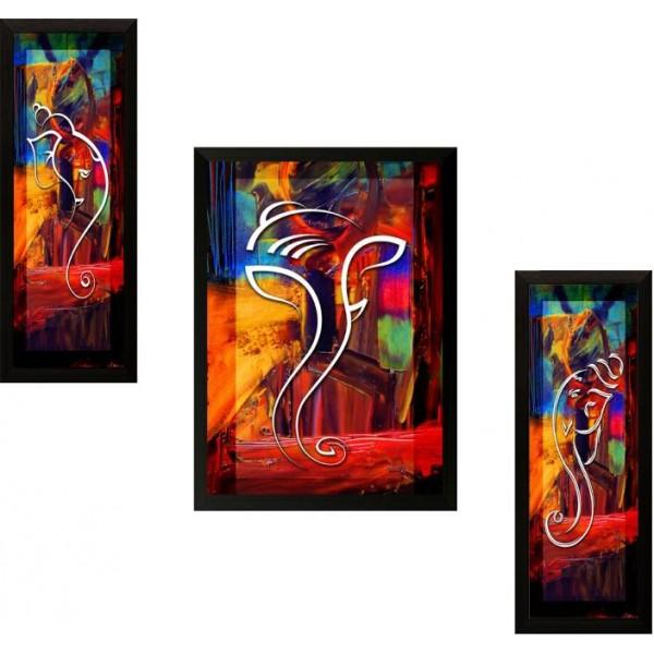 SAF Ganesh Modern art Ink Painting  (13.5 inch x 22 inch)