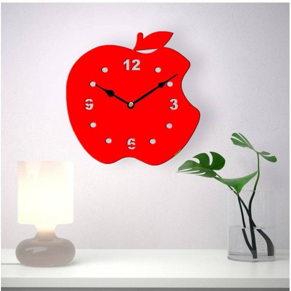 Basement Bazaar Analog Wall Clock  (Red, Without Glass)