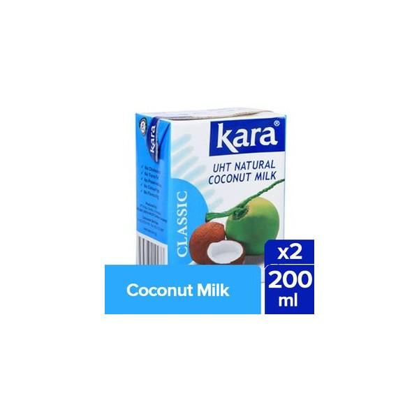 Kara Coconut Milk - UHT Natural, 2x200 ml Multi Pack