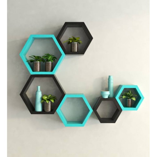 Artesia Wooden Wall Shelf  (Number of Shelves - 6, Black, Blue)