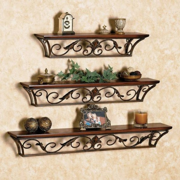 Decorhand Iron, Wooden Wall Shelf  (Number of Shelves - 3, Brown)