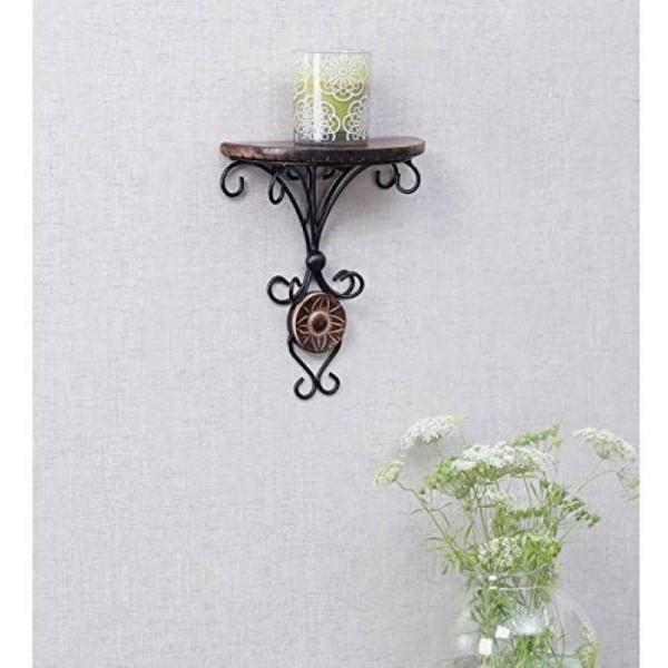 Decorasia Wood & Wrought Iron Fancy Brown Wooden Handicrafts Wooden, Iron Wall Shelf