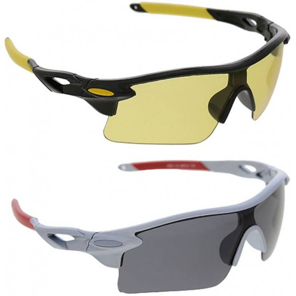 Vast Combo Of Day & Night Vision Wrap Around Cricket Goggles  (Black)