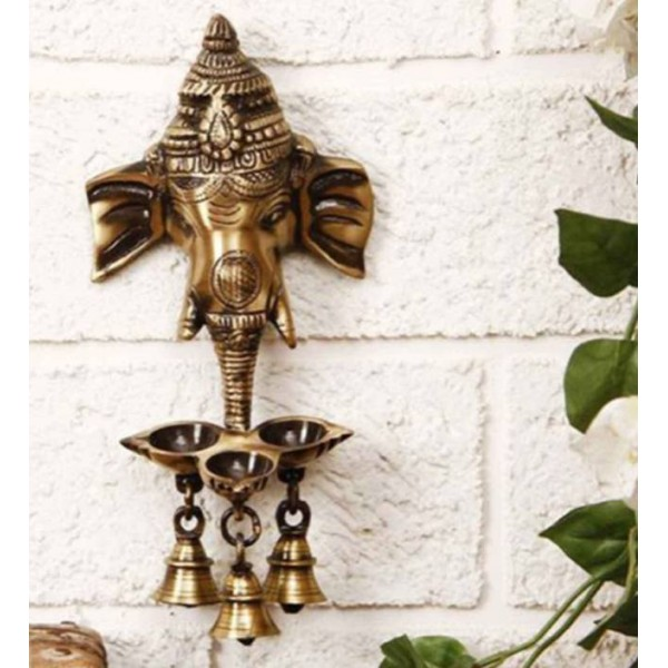 Craft Junction Handcrafted Wall Hanging Lord Ganesha With Three Diyas and Bells Showpiece
