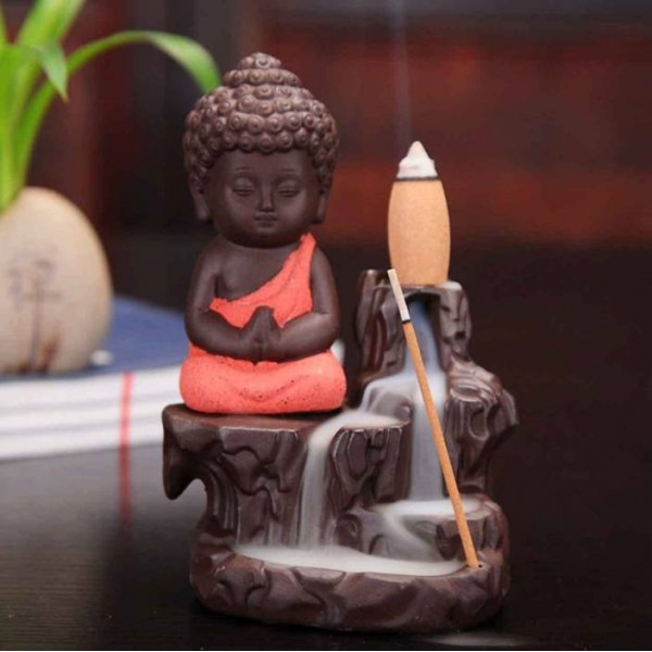 Craft Junction Handcrafted Meditating Little baby Monk Buddha Smoke Backflow Cone Incense Holder