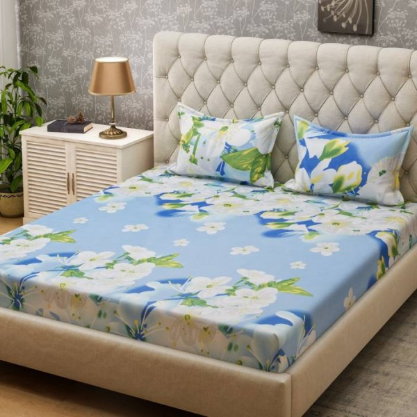 Bombay Dyeing 160 TC Microfiber Double Floral Bedsheet  (2 Pillow covers, Blue)