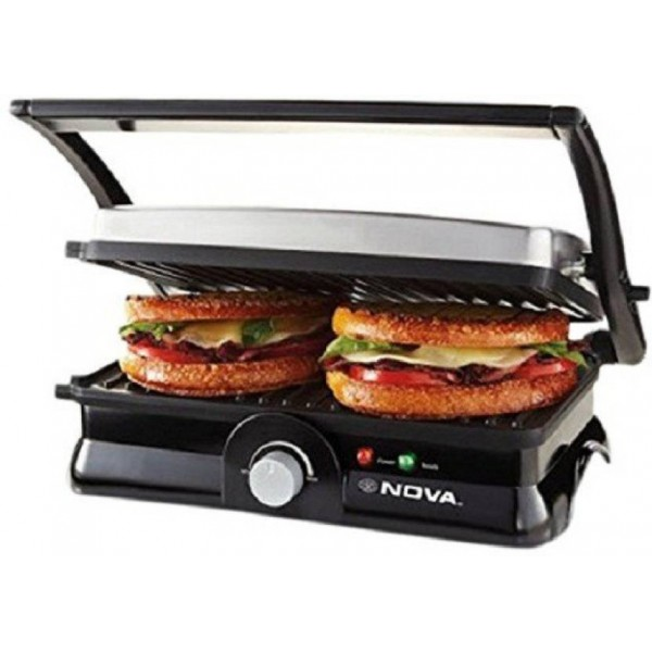 Nova Temperature 4 slice panni 2451/00 Grill  (Gery, Black)