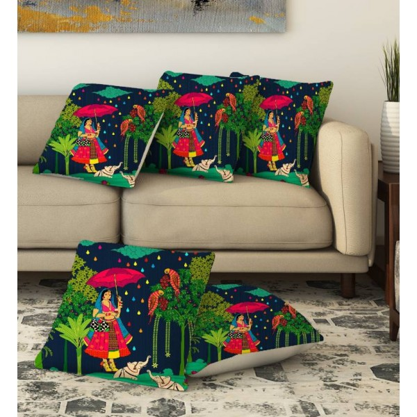 LA VERVE Printed Cushions Cover  (Pack of 5, 40 cm*40 cm, Multicolor)