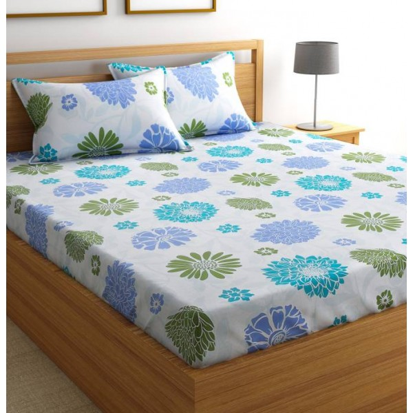SmartBuy 104 TC Cotton Double Floral Bedsheet  (1 Double Bedsheet and 2 Pillow Covers, Blue)