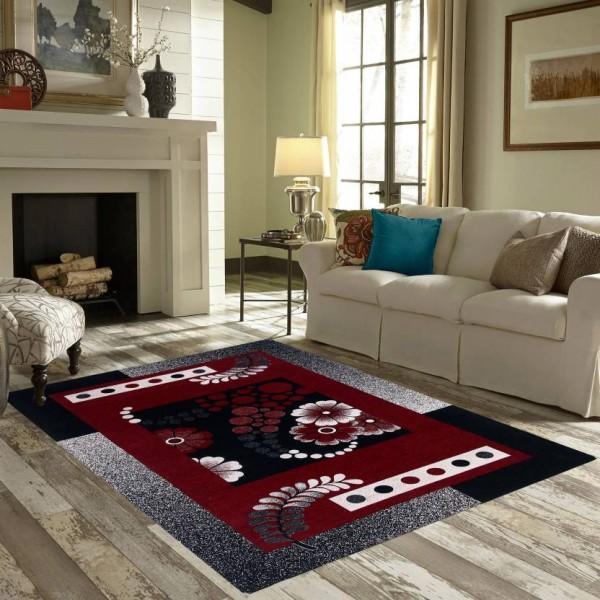 Zesture Black, Maroon Chenille Carpet  (138 cm X 213 cm)