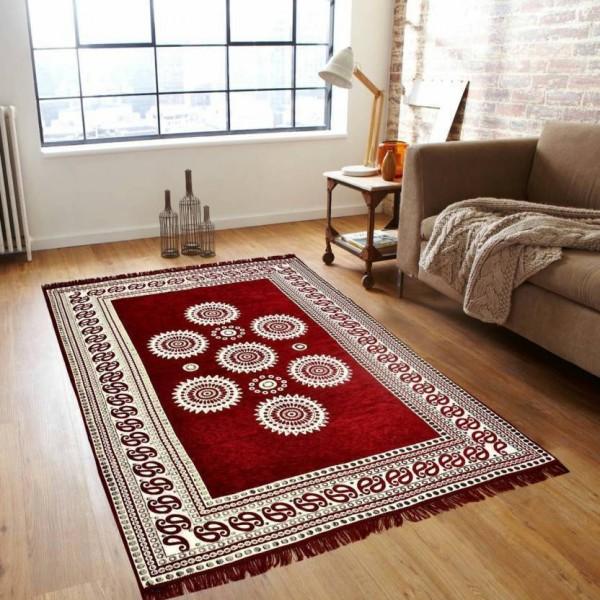 NEW TRENDS Red Chenille Carpet  (150 cm X 210 cm)