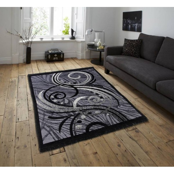 Zesture Black, Grey Chenille Carpet  (138 cm X 213 cm)