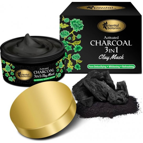 Oriental Botanics Activated Charcoal 3 IN 1 Clay Mask- With Vitamin C, Menthol and Charcoal  (100 g)
