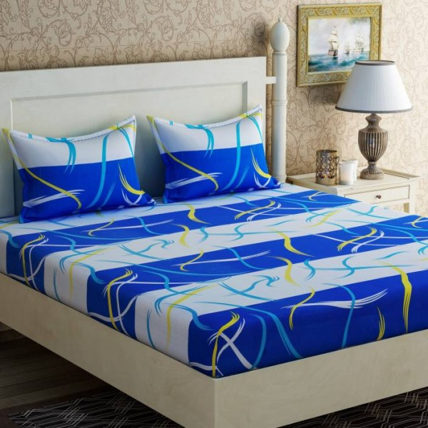 Zesture 104 TC Cotton Double Abstract Bedsheet  (1 Double Bedsheet with 2 Pillow Cover, Multicolor)