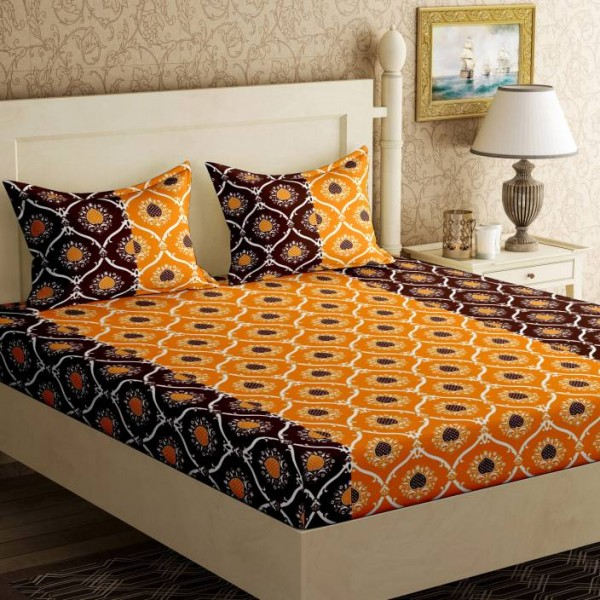 Bella Casa 104 TC Cotton Double Floral Bedsheet  (1Bed-sheet,2 Pillow covers, Yellow)
