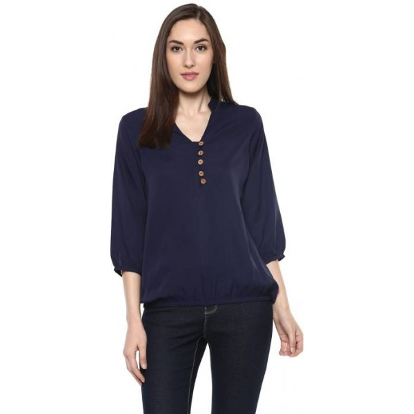 Krapal Formal 3/4th Sleeve Solid Women Blue Top
