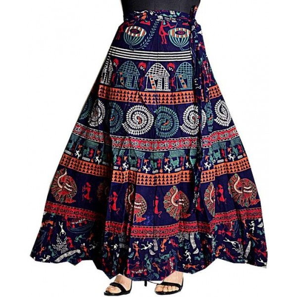 Silver Organisation Printed Women Wrap Around Multicolor Skirt