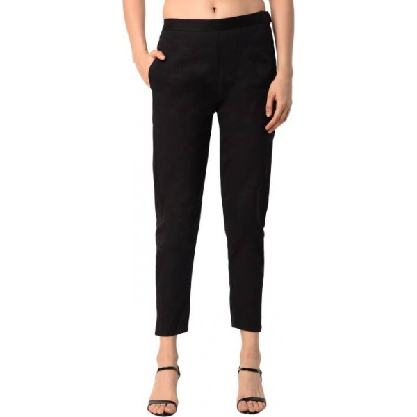 PAMO Regular Fit Women's Black Trousers